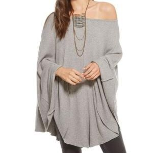 CHASER Gray Ribbed Off the Shoulder Poncho Sweater